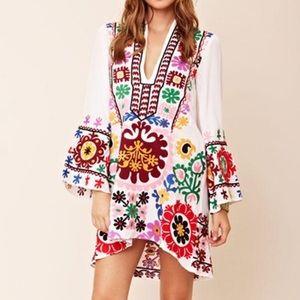 Boho Mexican Handmade Embroidered Gypsy Mini Dress